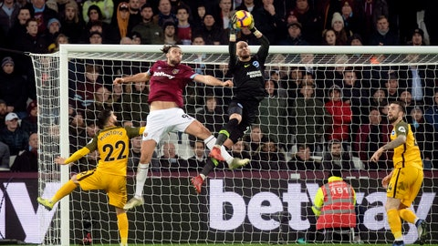 <p>               West Ham United's Andy Carroll (9) challenges Brighton & Hove Albion goalkeeper David Button for high ball during a Premier League soccer match at the London Stadium, Wednesday, Jan. 2, 2019, in London. (Victoria Jones/PA via AP)             </p>