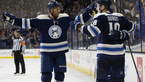 <p>               Columbus Blue Jackets' Seth Jones, left, and Pierre-Luc Dubois celebrate their game-winning goal against the Nashville Predators during the overtime period of an NHL hockey game Thursday, Jan. 10, 2019, in Columbus, Ohio. The Blue Jackets beat the Predators 4-3 in overtime. (AP Photo/Jay LaPrete)             </p>