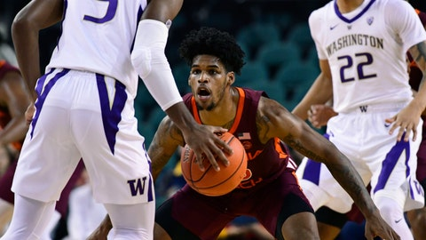 <p>               FILE - In this Dec. 15, 2018, file photo, Virginia Tech guard Ahmed Hill (13) looks to defend against Washington guard Jaylen Nowell (5) during the first half of an NCAA college basketball game, at Boardwalk Hall in Atlantic City, N.J. Virginia Tech is enjoying one of the best starts to a basketball season in program history, and one of the keys to the Hokies' success has been an increased attention to defense. (AP Photo/Corey Perrine, File)             </p>