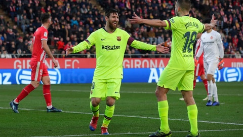 <p>               FC Barcelona's Lionel Messi celebrates after scoring his side's second goal during the Spanish La Liga soccer match between Girona and FC Barcelona at the Montilivi stadium in Girona, Spain, Sunday, Jan. 27, 2019. (AP Photo/Manu Fernandez)             </p>