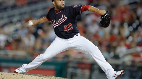 <p>               FILE - In this June 19, 2018, file photo, Washington Nationals pitcher Kelvin Herrera throws during the eighth inning of the team's baseball game against the Baltimore Orioles at Nationals Park in Washington. The Chicago White Sox have agreed to an $18 million, two-year contract with two-time AL All-Star reliever Kelvin Herrera. Under the terms of the deal announced Tuesday, Jan. 8, 2019. Herrera will earn $8.5 million in 2019 and 2020. (AP Photo/Carolyn Kaster, File)             </p>