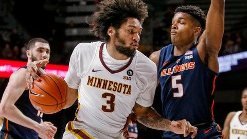 <p>               Minnesota's Jordan Murphy (3) drives around Illinois' Tevian Jones (5) during the first half of an NCAA college basketball game Wednesday, Jan. 30, 2019, in Minneapolis. (AP Photo/Bruce Kluckhohn)             </p>