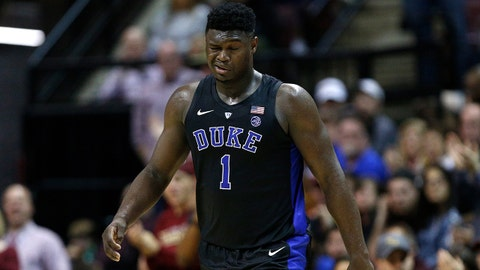 TALLAHASSEE, FL - JANUARY 12:  Zion Williamson #1 of the Duke Blue Devils reacts after being injured against the Florida State Seminoles during the first half at Donald L. Tucker Center on January 12, 2019 in Tallahassee, Florida.  (Photo by Michael Reaves/Getty Images)