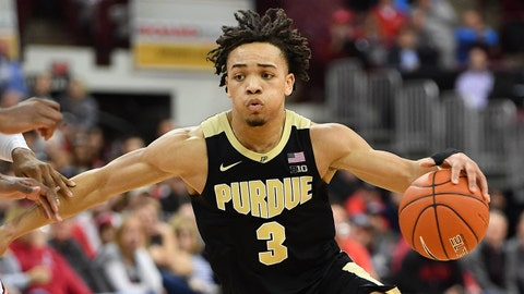 COLUMBUS, OH - JANUARY 23:  Carsen Edwards #3 of the Purdue Boilermakers controls the ball against the Ohio State Buckeyes on January 23, 2019 at Value City Arena in Columbus, Ohio.  (Photo by Jamie Sabau/Getty Images)