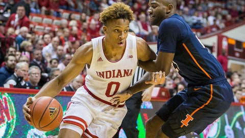 Jan 3, 2019; Bloomington, IN, USA; Indiana Hoosiers guard Romeo Langford (0) dribbles the ball while Illinois Fighting Illini guard Da'Monte Williams (20) defends in the first half at Assembly Hall. Mandatory Credit: Trevor Ruszkowski-USA TODAY Sports