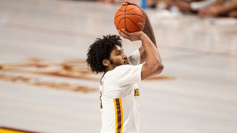 Jan 27, 2019; Minneapolis, MN, USA; Minnesota Gophers forward Jordan Murphy (3) shoots the ball during the first half against the Iowa Hawkeyes at Williams Arena. Mandatory Credit: Harrison Barden-USA TODAY Sports