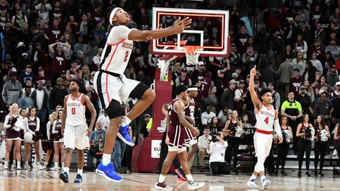 Jan 12, 2019; Starkville, MS, USA; Mississippi Rebels guard Devontae Shuler (2) reacts as time expires during the game against the Mississippi State Bulldogs at Humphrey Coliseum. Mandatory Credit: Matt Bush-USA TODAY Sports