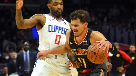 Jan 28, 2019; Los Angeles, CA, USA; Atlanta Hawks guard Trae Young (11) drives to the basket against Los Angeles Clippers guard Sindarius Thornwell (0) in the second half at Staples Center. Mandatory Credit: Jayne Kamin-Oncea-USA TODAY Sports