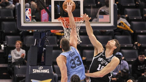 Jan 9, 2019; Memphis, TN, USA; Memphis Grizzlies center Marc Gasol (33) goes to the basket against San Antonio Spurs center Pau Gasol (16) during the second half at FedExForum. The Memphis Grizzlies defeated the San Antonio Spurs 96-86.  Mandatory Credit: Justin Ford-USA TODAY Sports
