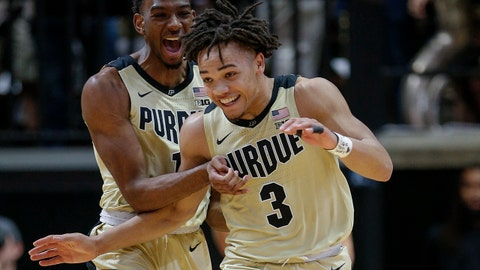 WEST LAFAYETTE, IN - JANUARY 03: Aaron Wheeler #1 of the Purdue Boilermakers and Carsen Edwards #3 of the Purdue Boilermakers celebrate during the game against the Iowa Hawkeyes at Mackey Arena on January 3, 2019 in West Lafayette, Indiana. (Photo by Michael Hickey/Getty Images)