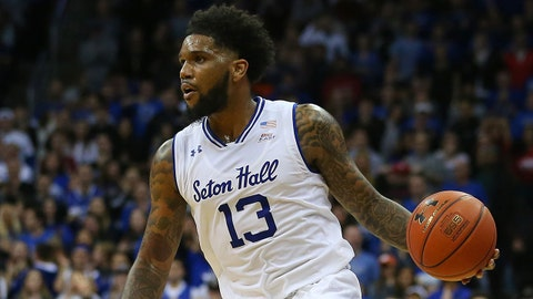 NEWARK, NJ - DECEMBER 29: Myles Powell #13 of the Seton Hall Pirates in action against the St. John's Red Storm during a game at Prudential Center on December 29, 2018 in Newark, New Jersey. (Photo by Rich Schultz/Getty Images)