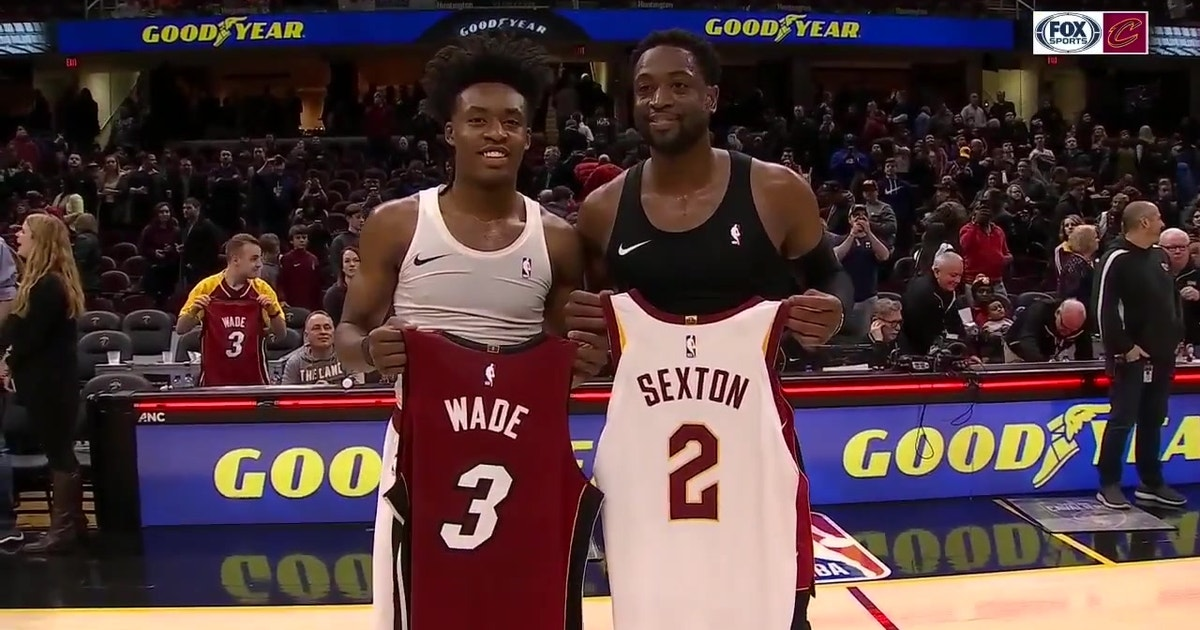 f70eda9716f1 After his final game in Cleveland Dwyane Wade exchanges jerseys with Collin  Sexton