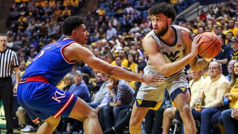Jan 19, 2019; Morgantown, WV, USA; West Virginia Mountaineers guard Jermaine Haley (10) holds the ball in the corner during the second half against the Kansas Jayhawks at WVU Coliseum. Mandatory Credit: Ben Queen-USA TODAY Sports