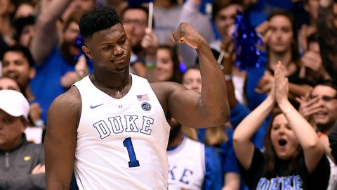 DURHAM, NORTH CAROLINA - JANUARY 19: Zion Williamson #1 of the Duke Blue Devils reacts after a dunk against the Virginia Cavaliers during the first half of their game at Cameron Indoor Stadium on January 19, 2019 in Durham, North Carolina. (Photo by Grant Halverson/Getty Images)