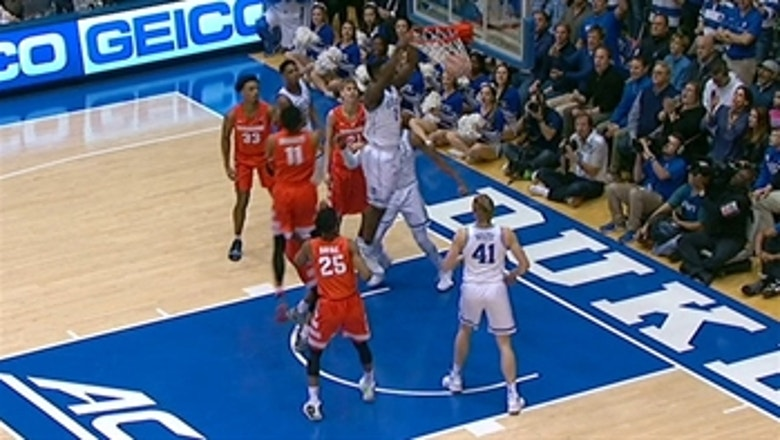 Zion Williamson follows his own miss with a two-handed slam
