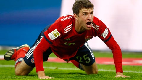 <p>               FILE - In this Saturday, Nov. 24, 2018 file photo, Bayern's Thomas Mueller protests during the German Bundesliga soccer match between FC Bayern Munich and Fortuna Duesseldorf in Munich, Germany. Bayern Munich forward Thomas Mueller has been banned for both games against Liverpool in the Champions League round of 16. UEFA says its disciplinary panel imposed a two-game ban for Mueller's red card after a bad tackle against Ajax last month. (AP Photo/Matthias Schrader, File)             </p>