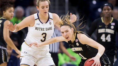 <p>               Wake Forest's Ivana Raca (11) moves by Notre Dame's Marina Mabrey (3) during the first half of an NCAA college basketball game Sunday, Jan. 13, 2019, in South Bend, Ind. (AP Photo/Robert Franklin)             </p>