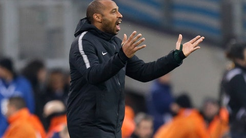 <p>               Monaco coach Thierry Henry gives instructions during the League One soccer match between Marseille and Monaco at the Velodrome stadium, in Marseille, southern France, Sunday, Jan. 13, 2019. (AP Photo/Claude Paris)             </p>