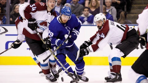 <p>               Toronto Maple Leafs right wing William Nylander (29) battles for the puck between Colorado Avalanche centre Carl Soderberg (34) and defenseman Mark Barberio (44) during second period NHL hockey action in Toronto on Monday, Jan. 14, 2019. (Cole Burston/The Canadian Press via AP)             </p>