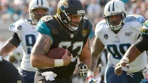 <p>               FILE - In this Dec. 22, 2013, file photo, Jacksonville Jaguars center Brad Meester (63) runs for a first down past Tennessee Titans defensive end Derrick Morgan, left, and defensive tackle Jurrell Casey (99) after catching pass during the first half of an NFL football game in Jacksonville, Fla. Some might argue the center is the most indispensable player on the roster, the player who mans the only position guaranteed to touch the ball on every play. He calls the shots for the line and gets the action going. (AP Photo/Phelan M. Ebenhack, File)             </p>