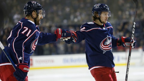 <p>               Columbus Blue Jackets' Nick Foligno, left, and Artemi Panarin, of Russia, celebrate their goal against the New Jersey Devils during the second period of an NHL hockey game Tuesday, Jan. 15, 2019, in Columbus, Ohio. (AP Photo/Jay LaPrete)             </p>