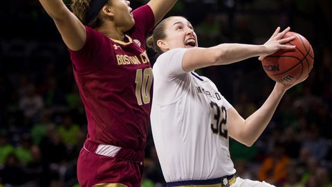 <p>               Notre Dame's Jessica Shepard (32) drives in for a layup in front of Boston College's Makayla Dickens (10) during the first half of an NCAA college basketball game Sunday, Jan. 20, 2019, in South Bend, Ind. (AP Photo/Robert Franklin)             </p>