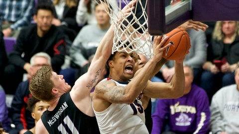 <p>               Gonzaga forward Brandon Clarke, right, shoots over Portland guard Josh McSwiggan during the first half of an NCAA college basketball game in Portland, Ore., Saturday, Jan. 19, 2019. (AP Photo/Craig Mitchelldyer)             </p>