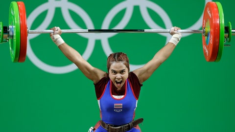 <p>               FILE - In this Saturday, Aug. 6, 2016 file photo, Sopita Tanasan of Thailand, competes in the women's 48kg weightlifting competition at the 2016 Summer Olympics in Rio de Janeiro, Brazil. Tanasan won the gold medal. Olympic gold medalist Sopita Tanasan with two world champion weightlifters are among four Thai weightlifters to test positive for banned steroids, the International Weightlifting Federation announced on Tuesday Jan. 22, 2019. (AP Photo/Mike Groll, File)             </p>