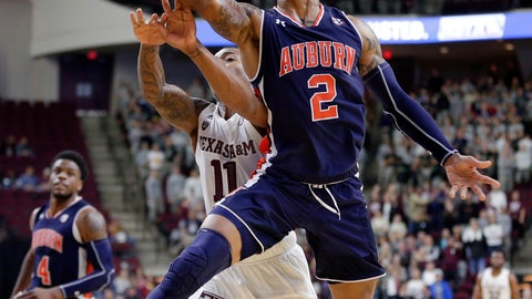 <p>               Auburn guard Bryce Brown (2) puts up a shot in front of Texas A&M guard Savion Flagg (1) during the second half of an NCAA college basketball game, Wednesday, Jan. 16, 2019, in College Station, Texas. (AP Photo/Michael Wyke)             </p>