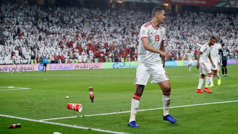 <p>               Bottles are thrown on the field by United Arab Emirates fans after Qatar's forward Hasan Al Haydos scores his side's third goal during the AFC Asian Cup semifinal soccer match between United Arab Emirates and Qatar at Mohammed Bin Zayed Stadium in Abu Dhabi, United Arab Emirates, Tuesday, Jan. 29, 2019. (AP Photo/Hassan Ammar)             </p>