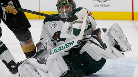 <p>               Minnesota Wild goaltender Devan Dubnyk (40) makes a save against the Vegas Golden Knights during the second period of an NHL hockey game Monday, Jan. 21, 2019, in Las Vegas. (AP Photo/John Locher)             </p>