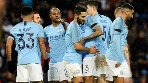 <p>               Manchester City's players celebrate after scoring their side's second goal during the English Premier League soccer match between Manchester City and Burnley at Etihad stadium in Manchester, England, Saturday, Jan. 26, 2019. (AP Photo/Rui Vieira)             </p>