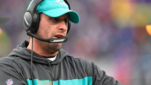 <p>               FILE - In this Sunday, Dec. 30, 2018 file photo, Miami Dolphins head coach Adam Gase watches the first half of an NFL football game against the Buffalo Bills in Orchard Park, N.Y. A person familiar with the decision says the New York Jets have hired former Miami Dolphins coach Adam Gase as their head coach. The person spoke to The Associated Press on condition of anonymity on Wednesday, Jan. 9, 2019 night because the team had not yet announced the hiring.(AP Photo/Adrian Kraus, File)             </p>