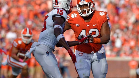 <p>               FILE - In this Oct. 20, 2018, file photo, Clemson's Christian Wilkins (42) works against North Carolina State's Chris Ingram during the first half of an NCAA college football game in Clemson, S.C. There are few one-on-one matchups where Alabama is ever going to be a disadvantage against Clemson. Clemson's defensive line might be good enough to capitalize on some small vulnerability even without suspended 340-pound run stuffer Dexter Lawrence. Tigers All-America defensive tackle Wilkins against Alabama left guard Lester Cotton is a place where the Tigers can win one-on-one. (AP Photo/Richard Shiro, File)             </p>