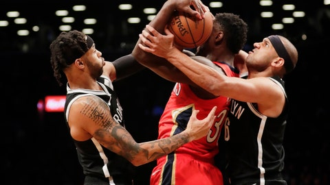 <p>               Brooklyn Nets' Jared Dudley, right, and D'Angelo Russell, left, defend New Orleans Pelicans' Julius Randle (30) during the first half of an NBA basketball game Wednesday, Jan. 2, 2019, in New York. (AP Photo/Frank Franklin II)             </p>