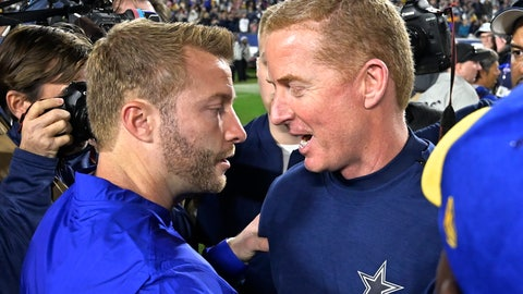 """<p>               In this Jan. 12, 2019 photo Dallas Cowboys head coach Jason Garrett, right, and Los Angeles Rams head coach Sean McVay meet after the Rams won an NFL divisional football playoff game in Los Angeles. Garrett had two different answers Monday, Jan. 14, 2019 to the question of whether oft-criticized offensive coordinator Scott Linehan would return next season. The first was on his morning radio show, when Garrett responded, """"I do,"""" when asked if he thought Linehan would be back for a sixth season with the Cowboys. At a news conference several hours later, Garrett wasn't even close to definitive, saying the meeting to discuss the coaching staff hadn't happened and that he had spent most of his time in individual interviews with players coming off the 30-22 divisional playoff loss to the Los Angeles Rams on Saturday. (AP Photo/Mark J. Terrill)             </p>"""