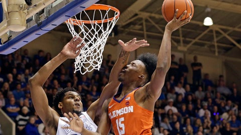 <p>               Duke's Marques Bolden (20) guards Clemson's John Newman III (15) during the first half of an NCAA college basketball game in Durham, N.C., Saturday, Jan. 5, 2019. (AP Photo/Gerry Broome)             </p>
