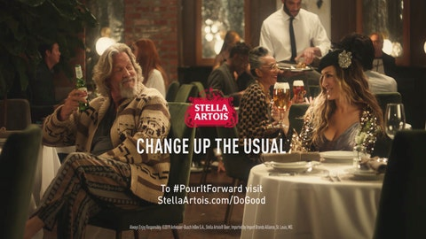 """<p>               This undated image provided by Stella Artois shows a scene from the company's Super Bowl spot with Sarah Jessica Parker, right, and Jeff Bridges. Parker will reprise her Carrie Bradshaw role from """"Sex and the City"""" and Bridges will appear as """"The Dude"""" in the Super Bowl commercial to raise money to combat water shortage. The 45-second ad launches Monday, Jan. 28, 2019, and will be televised during Super Bowl 53 on Feb. 3. (Stella Artois via AP)             </p>"""