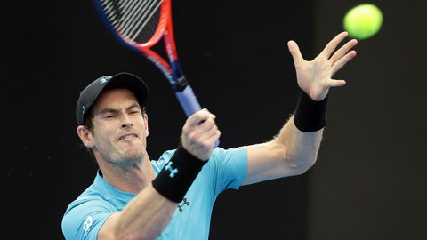 <p>               Andy Murray of Britain plays a shot during his match against James Duckworth of Australia at the Brisbane International tennis tournament in Brisbane, Australia, Tuesday, Jan. 1, 2019. (AP Photo/Tertius Pickard)             </p>