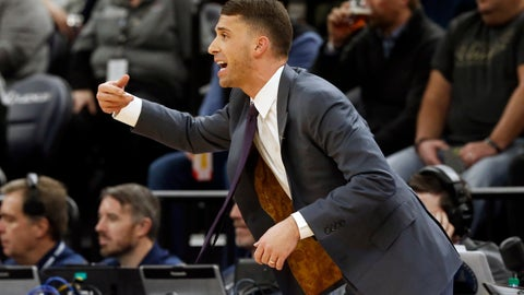 <p>               Minnesota Timberwolves interim head coach Ryan Saunders, making his home court debut, directs his players against the Dallas Mavericks in the first half of an NBA basketball game Friday, Jan. 11, 2019, in Minneapolis. Saunders replaces the fired Tom Thibodeau. (AP Photo/Jim Mone)             </p>