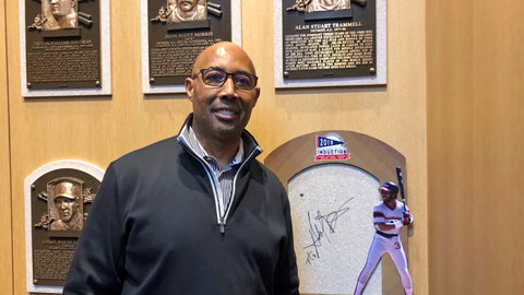<p>               Hall of Fame inductee harold Baines poses where is plaques will hang as he visits the National Baseball Hall of Fame, Tuesday, Jan. 29, 2019, in Cooperstown, N.Y. Baines will inducted on July 21. (AP Photo/John Kekis)             </p>