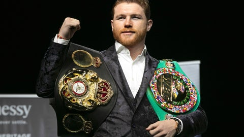 <p>               FILE - In this Wednesday, Oct. 17, 2018, file photo, boxer Canelo Alvarez poses for photos at Madison Square Garden in New York. Alvarez will return to the ring and to the middleweight division on May 4, 2019, to fight Danny Jacobs. (AP Photo/Richard Drew, File)             </p>