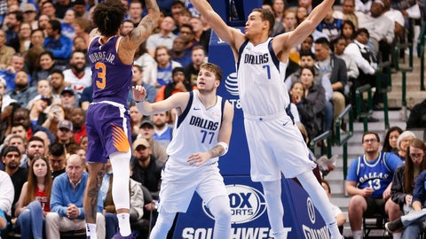 <p>               Phoenix Suns forward Kelly Oubre Jr. (3) shoots over Dallas Mavericks forward Luka Doncic (77) and forward Dwight Powell (7) during the second half of an NBA basketball game, Wednesday, Jan. 9, 2019, in Dallas. The Mavericks won 104-94. (AP Photo/Jim Cowsert)             </p>