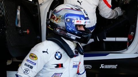 <p>               Alex Zanardi, front, practices driver changes with team members in the BMW M8 GTE as he prepares for the IMSA 24 hour race at Daytona International Speedway, Friday, Jan. 25, 2019, in Daytona Beach, Fla. (AP Photo/Terry Renna)             </p>