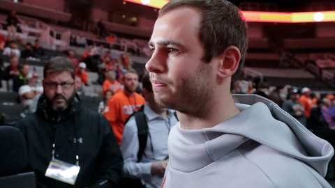 <p>               Clemson's Hunter Renfrow listens to a question during media day for the NCAA college football playoff championship game Saturday, Jan. 5, 2019, in Santa Clara, Calif. (AP Photo/Chris Carlson)             </p>