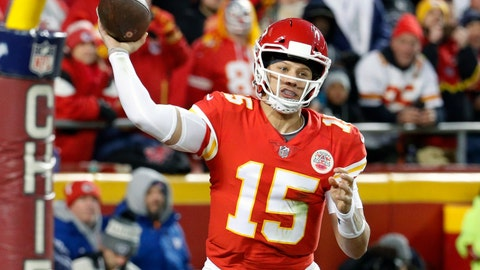 <p>               FILE - In this Dec. 30, 2018, file photo, Kansas City Chiefs quarterback Patrick Mahomes (15) throws a touchdown pass to wide receiver Demarcus Robinson, unseen, during the second half of an NFL football game against the Oakland Raiders, in Kansas City, Mo. Mahomes made The Associated Press 2018 NFL All-Pro Team, Friday, Jan. 4, 2018. (AP Photo/Charlie Riedel, File)             </p>