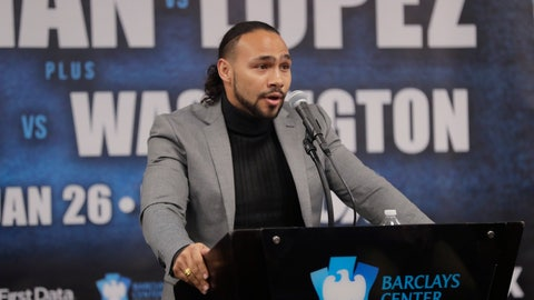 <p>               FILE - In this Dec. 22, 2018, file photo, Keith Thurman speaks during a news conference for an upcoming fight in New York. Thurman has been limited to fight fan instead of fighter for nearly two years, going to bouts but looking up at someone else on the marquee. He's ready to be the star of the show again.Thurman and Josesito Lopez will fight on Jan. 26 at Barclays Center in New York. (AP Photo/Frank Franklin II, File)             </p>