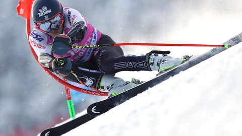 <p>               Tommy Ford, of the United States, competes during a ski World Cup men's Giant Slalom in Adelboden, Switzerland, Saturday, Jan.12, 2019. (AP Photo/Shinichiro Tanaka)             </p>