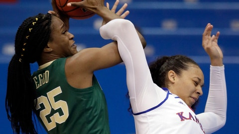 <p>               Baylor center Queen Egbo (25) rebounds against Kansas center Chelsea Lott (1) during the first half of an NCAA college basketball game in Lawrence, Kan., Wednesday, Jan. 16, 2019. (AP Photo/Orlin Wagner)             </p>