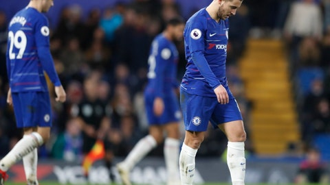 <p>               Chelsea's Eden Hazard, right, and Chelsea's Alvaro Morata walk at the end of the English Premier League soccer match between Chelsea and Southampton at Stamford Bridge stadium in London, England, Wednesday, Jan. 2, 2019. (AP Photo/Frank Augstein)             </p>